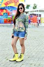 Yellow-combat-boots-tomato-boots-green-shirt-blue-denim-mint-shorts