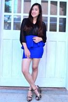 blue peplum Usso skirt - black sheer top Forever 21 top