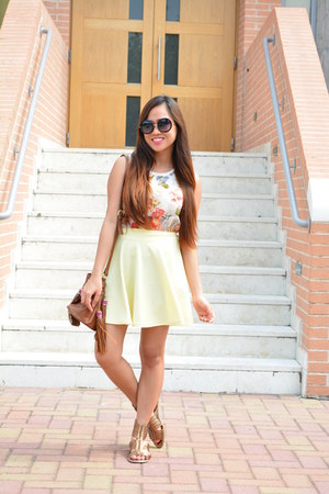 light yellow Bazaar skirt - tawny H&M bag - bronze Segue sandals