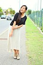 Black-h-m-top-off-white-bazaar-skirt-bronze-mannika-heels