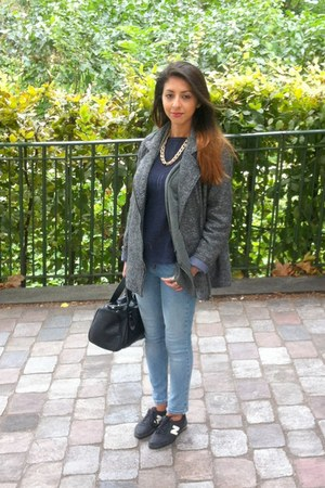 Zara bag - Monki coat - Topshop jeans - Zara jumper - New Balance sneakers