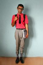 black geek Topman socks - gray trousers vintage pants