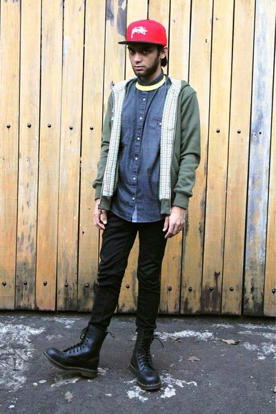 Men\u0027s Dark Gray Denim Debenhams Shirts, Black Leather Dr