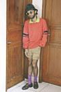 Black-tartan-fedora-zara-hat-light-brown-denim-diy-shorts