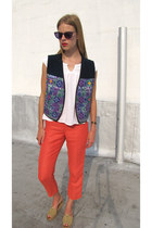 deep purple la eyeworks sunglasses - carrot orange linen calvin klein pants - wh