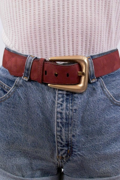 brick red suede fair season belt