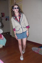 beige American Eagle blazer - red Forever 21 blazer - blue Roxy skirt - white Ju