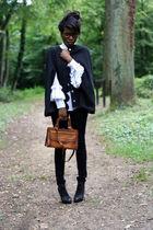 black Violette Tannenbaum coat - white H&M shirt - vintage bag - Topshop shoes -
