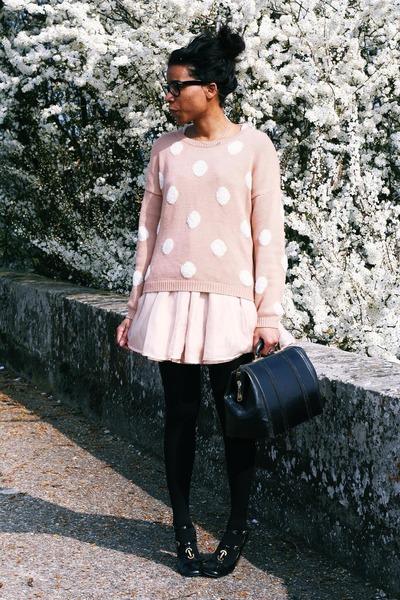 Chloe shoes - Violette Tannenbaum dress - H&M sweater - thrifted vintage bag