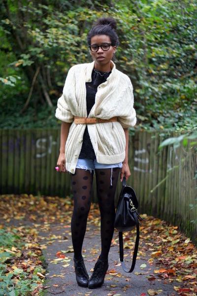 black Violette Tannenbaum blouse - beige vintage cardigan - Levis shorts - Topsh