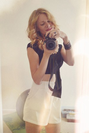 white Sheinside shorts - black crop top