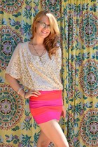 beige sequin sheer Nasty Gal blouse - hot pink skirt