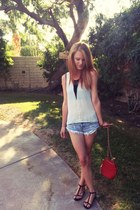 white blouse - ruby red Accessorize bag - sky blue cutoffs denim shorts