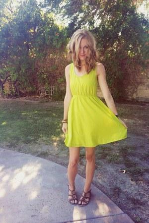 chartreuse dress - brown Aldo sandals