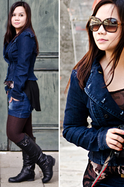 navy double-breasted Lee Cooper jacket - black knee-high Forever21 boots