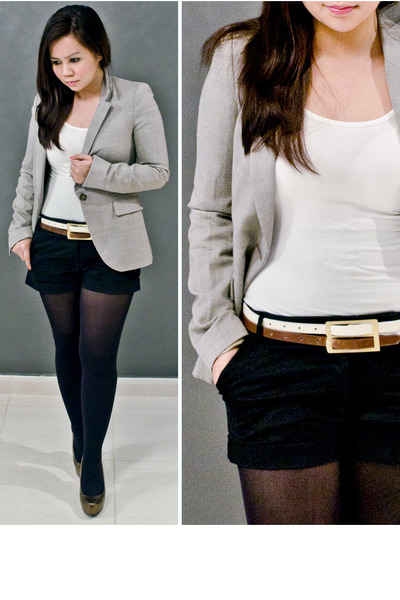 black tailored Forever21 shorts - beige tailored Zara blazer