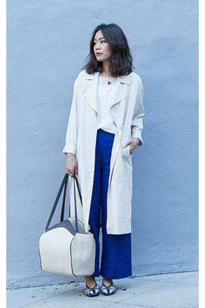 ivory duster H&M coat - blue Zara pants