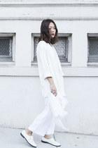 white Zara blazer - white H&M scarf - white Zara pants - white shoemint loafers