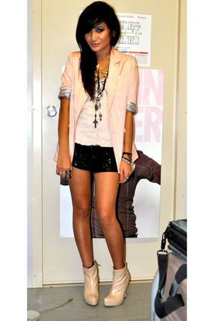 beige Valleygirl blazer - black sequined bardot shoes - beige vagabond shoes