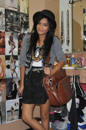 black Dotti skirt - brown thrifted bag - silver Valleygirl cardigan