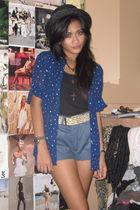 blue thrifted blouse - black Sportsgirl hat - blue thrifted mens shorts