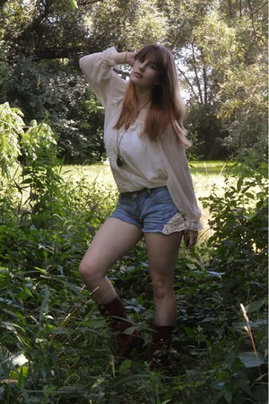 dark brown boots - sky blue lace Charlotte Russe shorts