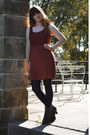Dark-brown-thrifted-boots-burnt-orange-lace-thrifted-dress-black-tights