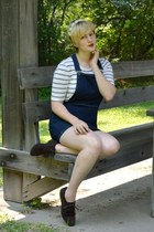 navy denim Topshop dress - white striped thrifted shirt