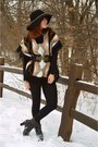 Dark-brown-thrifted-boots-target-hat-h-m-leggings-black-francescas-belt
