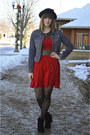 Black-suede-boots-ruby-red-sheer-dress-black-panda-modcloth-hat