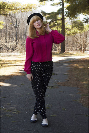 hot pink pleated thrifted blouse - modcloth hat