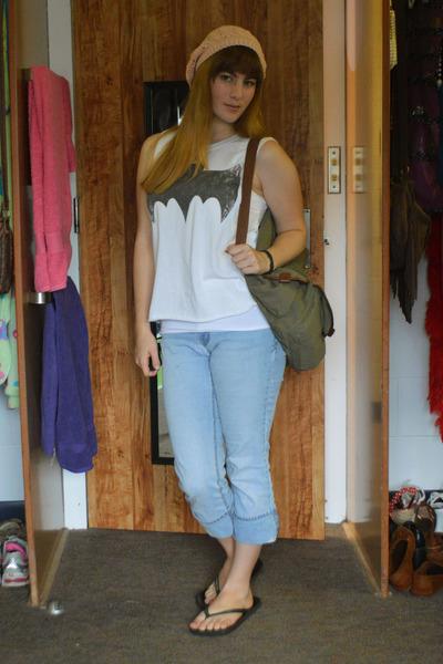 white bat Forever 21 shirt - sky blue thrifted jeans - bubble gum H&M hat