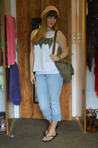 white bat Forever 21 shirt - sky blue thrifted jeans - bubble gum H&M hat