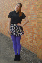 dark gray cat romwe skirt - black suede boots - light purple Target tights