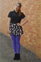 dark gray cat romwe skirt - black suede boots - light purple Target tights