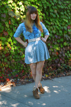 silver polka dot skirt - sky blue denim Forever 21 shirt - camel belt