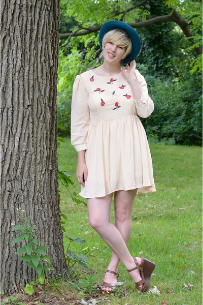 neutral embroidered OASAP dress - teal thrifted hat - brown wedges