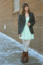 Brown-boots-aquamarine-pacsun-dress-gray-thrifted-blazer-light-blue-tights