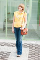 yellow Romwecom shirt - navy pull&bear jeans - burnt orange New Yorker bag