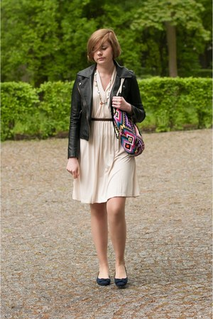 black Sheinside jacket - cream H&M dress