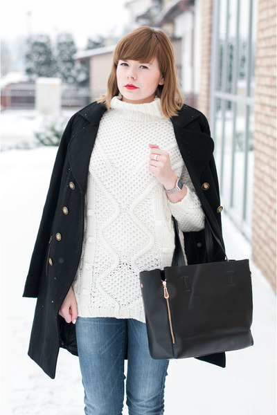 black Only coat - white Zara sweater - black romwe bag