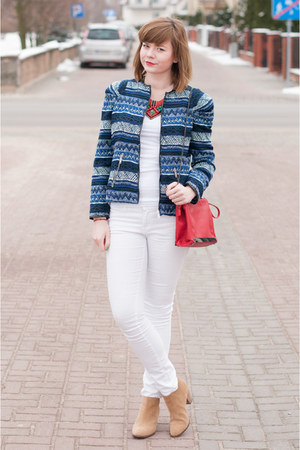blue Zara jacket - red Zara bag - white H&amp;M pants