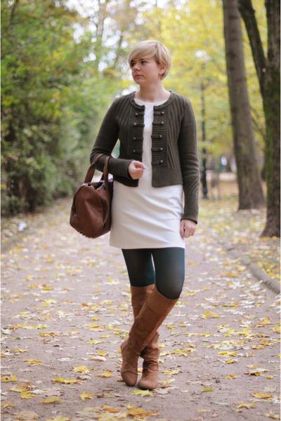 bronze H&M boots - cream H&M dress - dark green H&M jumper