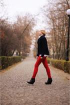 red Bershka pants - navy H&M jacket - black asos wedges
