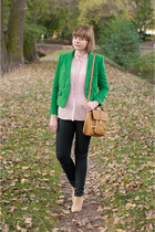green Sheinside blazer - light pink H&M shirt - bronze Misha Barton bag