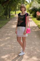 bubble gum H&M bag - white Sheinside skirt - white Converse sneakers