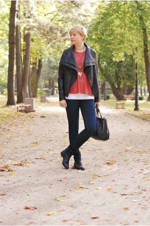 black H&amp;M boots - navy Lee jeans - black Mizensa bag - brick red H&amp;M jumper