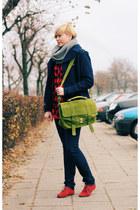 chartreuse Mizensa bag - navy H&M jacket - silver H&M scarf