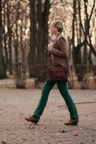 dark green Vero Moda pants - camel H&M jacket