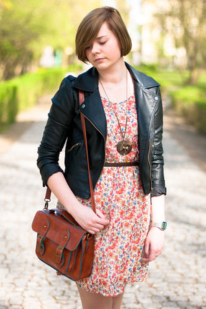 red Atmosphere dress - black Sheinside jacket - burnt orange New Yorker bag